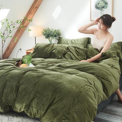 2019新款-北欧无印良品天鹅绒单品被套 150x200cm 墨   绿(9号)