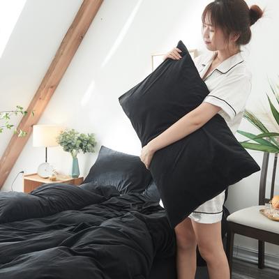 2019新款-北欧无印良品天鹅绒单品枕套 48cmX74cm/对 纯   黑(14号)
