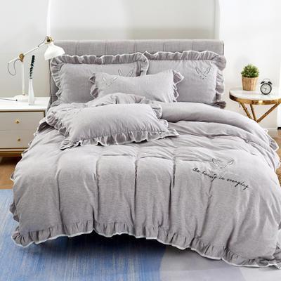 2020新款蕾欧娜-自由棉韩版刺绣四件套 床单款1.5m(5英尺)床 1蕾欧娜-浅咖
