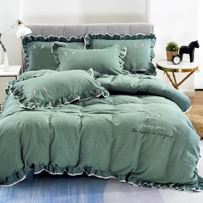 2020新款蕾欧娜-自由棉韩版刺绣四件套 床单款1.5m(5英尺)床 2蕾欧娜-石绿
