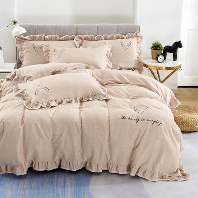 2020新款蕾欧娜-自由棉韩版刺绣四件套 床单款1.5m(5英尺)床 3蕾欧娜-浅橙