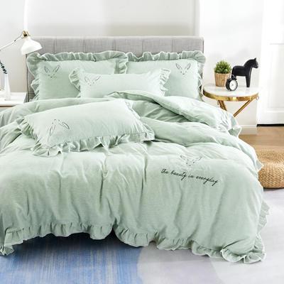 2020新款蕾欧娜-自由棉韩版刺绣四件套 床单款1.5m(5英尺)床 4蕾欧娜-水绿