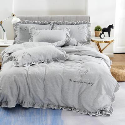 2020新款蕾欧娜-自由棉韩版刺绣四件套 床单款1.5m(5英尺)床 5蕾欧娜-烟灰