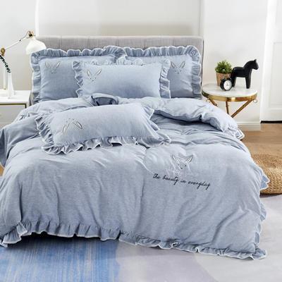2020新款蕾欧娜-自由棉韩版刺绣四件套 床单款1.5m(5英尺)床 7蕾欧娜-雾蓝