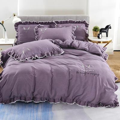 2020新款蕾欧娜-自由棉韩版刺绣四件套 床单款1.5m(5英尺)床 8蕾欧娜-黛紫