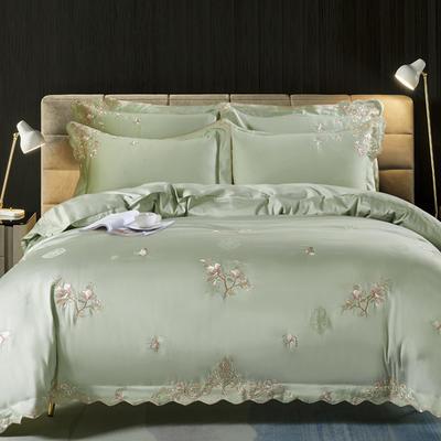 2020新款梅语-100支全棉提花刺绣四件套 床单款1.5m(5英尺)床 1梅语-水绿
