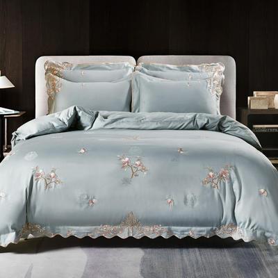 2020新款梅语-100支全棉提花刺绣四件套 床单款1.5m(5英尺)床 2梅语-青灰