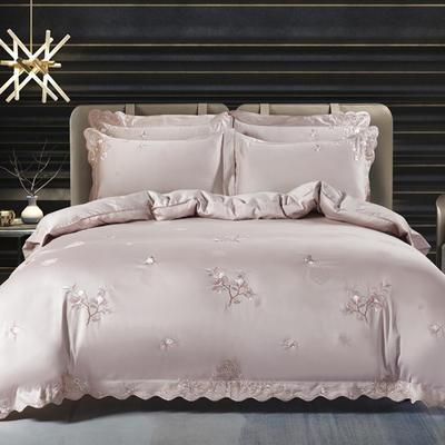 2020新款梅语-100支全棉提花刺绣四件套 床单款1.5m(5英尺)床 3梅语-香槟