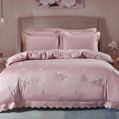 2020新款梅语-100支全棉提花刺绣四件套 床单款1.5m(5英尺)床 6梅语-浅豆沙