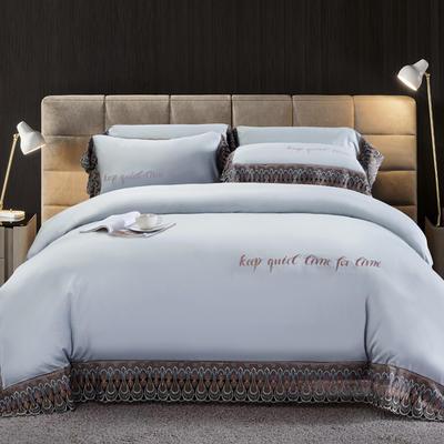 2020新款瑞亚-100支长绒棉绣花+水溶蕾丝花边四件套 床单款1.8m(6英尺)床 2雾蓝