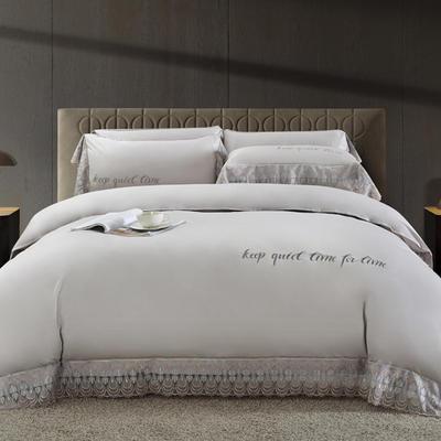 2020新款瑞亚-100支长绒棉绣花+水溶蕾丝花边四件套 床单款1.8m(6英尺)床 4米灰