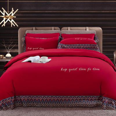 2020新款瑞亚-100支长绒棉绣花+水溶蕾丝花边四件套 床单款1.8m(6英尺)床 8大红