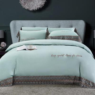 2020新款瑞亚-100支长绒棉绣花+水溶蕾丝花边四件套 床单款1.8m(6英尺)床 9水绿