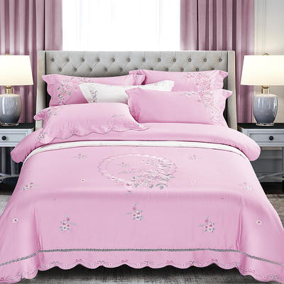 2020新款花好月圆-100支长绒棉绣花四件套 床单款1.5m(5英尺)床 花好月圆 粉红