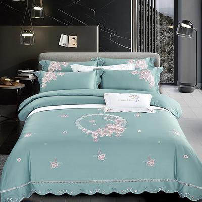 2020新款花好月圆-100支长绒棉绣花四件套 床单款1.8m(6英尺)床 花好月圆 孔雀绿