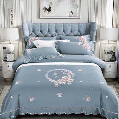 2020新款花好月圆-100支长绒棉绣花四件套 床单款1.5m(5英尺)床 花好月圆 兰灰