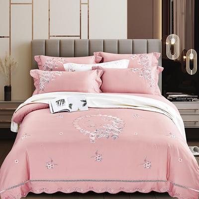 2020新款花好月圆-100支长绒棉绣花四件套 床单款1.8m(6英尺)床 花好月圆 奶油粉