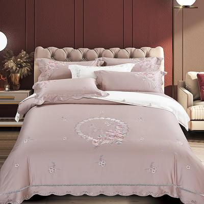 2020新款花好月圆-100支长绒棉绣花四件套 床单款1.8m(6英尺)床 花好月圆 藕粉