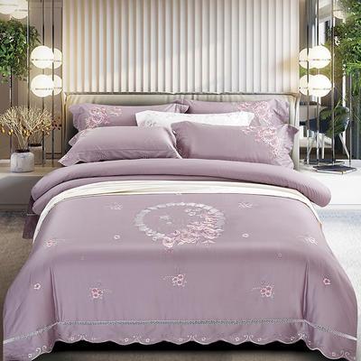 2020新款花好月圆-100支长绒棉绣花四件套 床单款1.5m(5英尺)床 花好月圆 浅紫