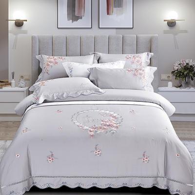 2020新款花好月圆-100支长绒棉绣花四件套 床单款1.8m(6英尺)床 花好月圆 水银灰