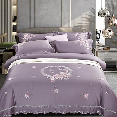 2020新款花好月圆-100支长绒棉绣花四件套 床单款1.8m(6英尺)床 花好月圆 水紫