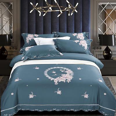 2020新款花好月圆-100支长绒棉绣花四件套 床单款1.5m(5英尺)床 花好月圆 午夜蓝