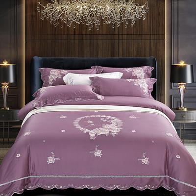 2020新款花好月圆-100支长绒棉绣花四件套 床单款1.8m(6英尺)床 花好月圆 紫豆沙