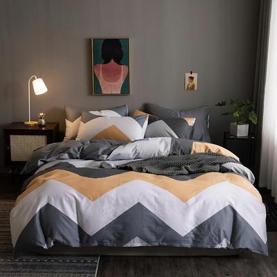2020新款-全棉13372印花四件套 床单款四件套1.5m(5英尺)床 索尔