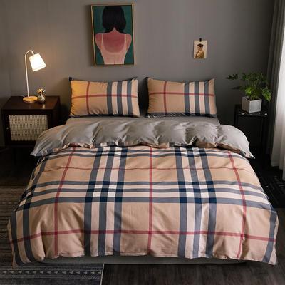 2020新款-全棉13372印花四件套 床单款四件套1.5m(5英尺)床 温伯-卡其