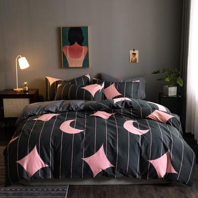 2020新款-全棉13372印花四件套 床单款四件套1.5m(5英尺)床 星贝-粉