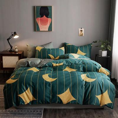 2020新款-全棉13372印花四件套 床单款四件套1.5m(5英尺)床 星贝-黄
