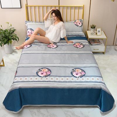 2020新款-冰丝凉席可水洗机洗床单式三件套 235*250 暗夜未央-灰