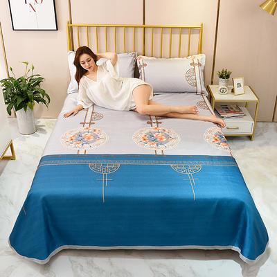 2020新款-冰丝凉席可水洗机洗床单式三件套 235*250 茶烟轻扬-蓝