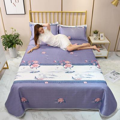 2020新款-冰丝凉席可水洗机洗床单式三件套 235*250 红尘花季-紫