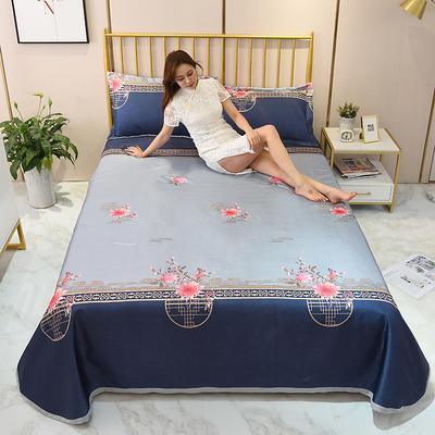 2020新款-冰丝凉席可水洗机洗床单式三件套 235*250 花开时节-灰