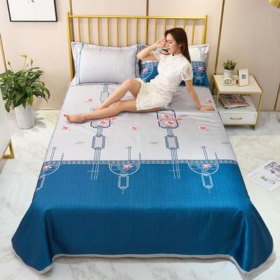 2020新款-冰丝凉席可水洗机洗床单式三件套 235*250 陌上花开-蓝