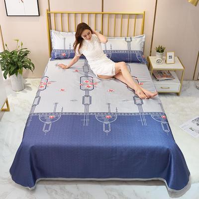 2020新款-冰丝凉席可水洗机洗床单式三件套 235*250 陌上花开-紫
