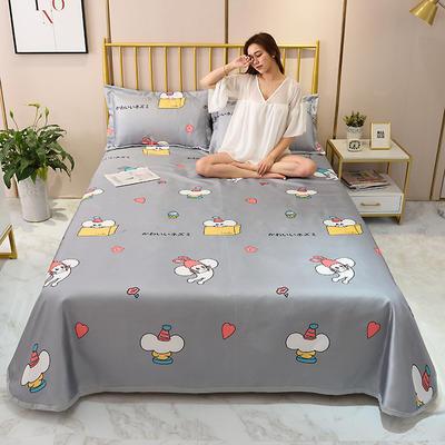 2020新款-冰丝凉席可水洗机洗床单式三件套 235*250 鼠于你-灰