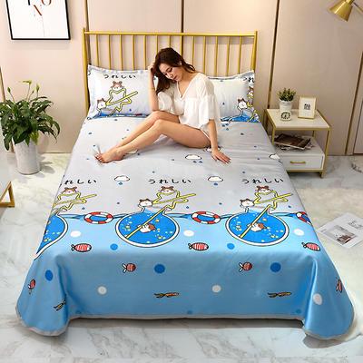 2020新款-冰丝凉席可水洗机洗床单式三件套 235*250 吸吸乐-蓝
