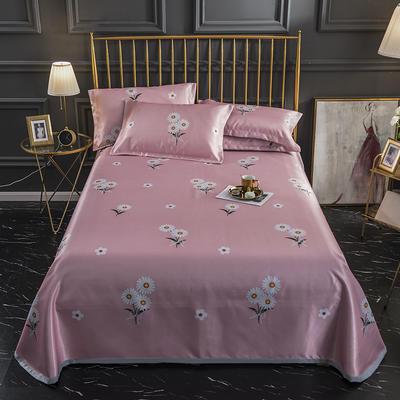 2020新款-冰丝凉席可水洗机洗床单式三件套 235*250 小雏菊-粉