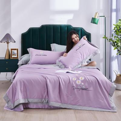 2020新款-60S长绒棉刺绣艾草功能性夏被四件套 夏被四件套200X230cm 夏之恋-浅紫