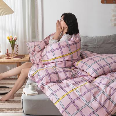 22020新款-全棉13372民宿风格子四件套 床单款三件套1.2m(4英尺)床 艾洛琳