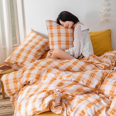 22020新款-全棉13372民宿风格子四件套 床单款三件套1.2m(4英尺)床 白城