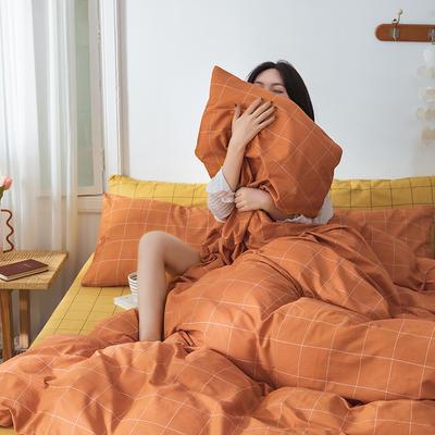 22020新款-全棉13372民宿风格子四件套 床单款三件套1.2m(4英尺)床 极光