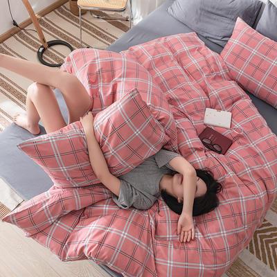 22020新款-全棉13372民宿风格子四件套 床单款三件套1.2m(4英尺)床 莱茵畔
