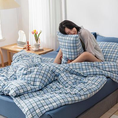 22020新款-全棉13372民宿风格子四件套 床单款三件套1.2m(4英尺)床 蓝调咖啡