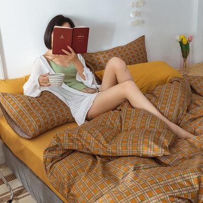 22020新款-全棉13372民宿风格子四件套 床单款三件套1.2m(4英尺)床 南瓜格