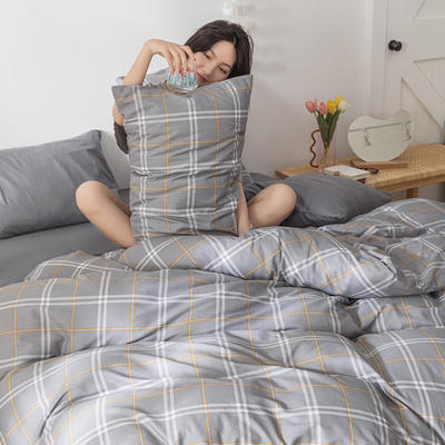 22020新款-全棉13372民宿风格子四件套 床单款三件套1.2m(4英尺)床 雾森林