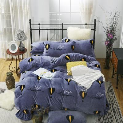 2020新款-牛奶绒四件套 1.5m床单款四件套 热气球-紫
