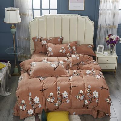 2020新款-牛奶绒四件套 1.5m床单款四件套 素色雅然-棕